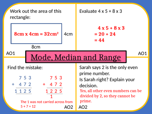 Mode Median and Range Lesson Plan