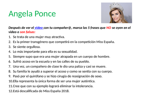 Starter Activity: Angela Ponce, Miss España 2018