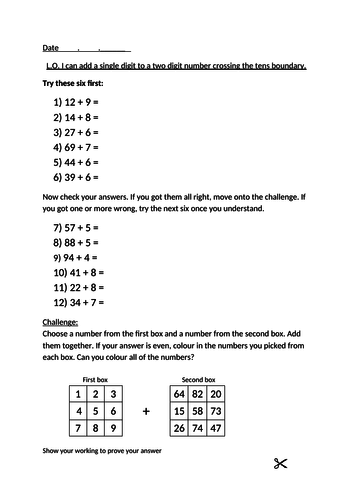 KS2 maths - Addition - add a single digit to a two digit number crossing the tens boundary
