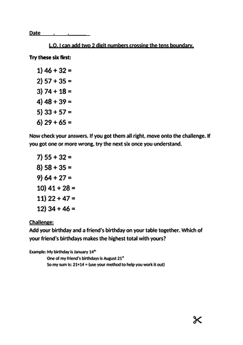 KS2 maths - Addition - add two 2 digit numbers crossing the tens boundary