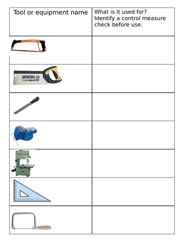 KS3 Workshop tools and equipment