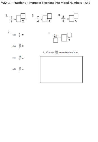 Converting Mixed numbers and Improper Fractions - Year 5 Maths Planning and Resources