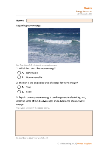 KS3 Science - Wave Energy Interactive PDF by JSHLearning ...