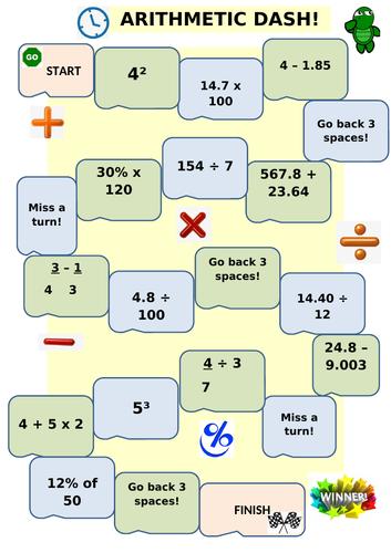 Year 6 Arithmetic Board Game