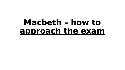 Macbeth exam practice