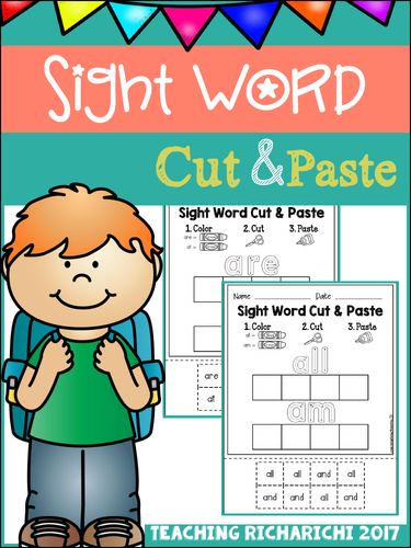 Sight Word Cut and Paste Worksheets (Primer)