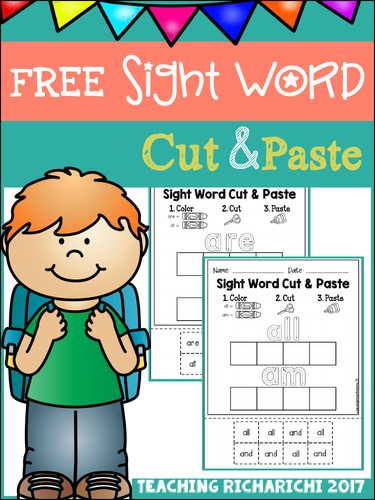 FREE Sight Word Cut and Paste Worksheets (Primer)