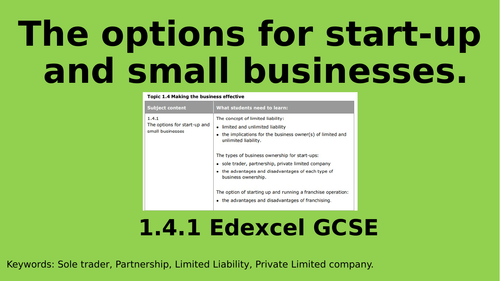 1.4.1 Business Ownership and Franchising lessons Edexcel GCSE Business Education