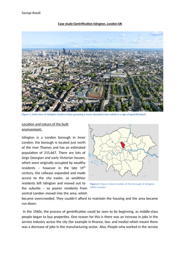 A Level Geography Changing Places Case Study - Gentrification in Islington  (Revision Document)