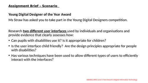 BTEC level 1 Tech Award in Digital Technology Assignment
