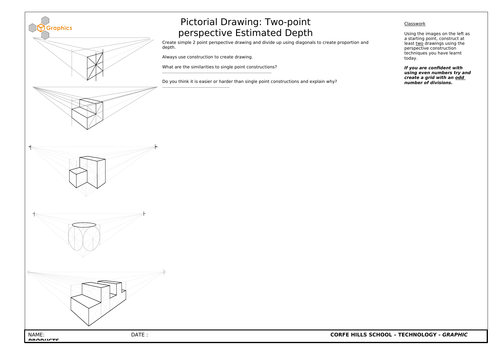 GCSE Product Design Two Point Perspective and Two Point Estimated Depth lessons