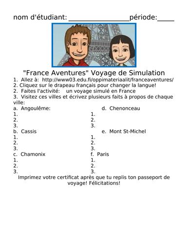 France Aventures Voyage de Simulation Handout