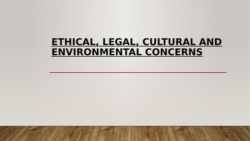 GCSE Computer Science - Ethical, Cultural, Legal and Environmental Concerns