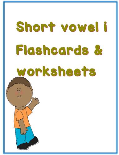 short vowel i flashcards and worksheet