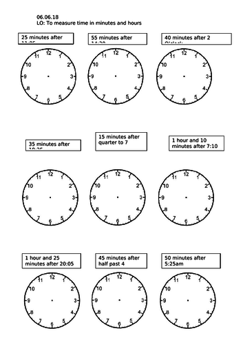 Year 3 Adding minutes and Telling Time Worksheet
