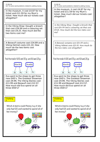 Money Word Problems Year 3