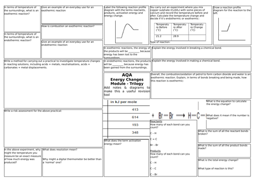 AQA Triple Science (9-1) Chemistry 5 Energy Changes Revision Broadsheet