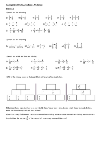 Adding and Subtracting Fractions complete worksheet set