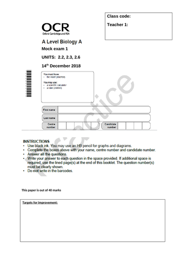 OCR A-level biology A Year 1 December mock papers
