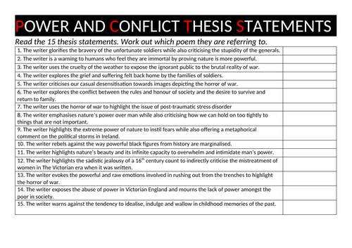 Power And Conflict Conceptual Summary Quiz | Teaching Resources