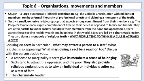 AQA A Level - Sociology - Types of Religious Organisation