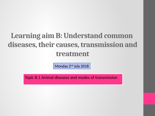 BTEC Animal Care Unit 1 B.1 Diseases and modes of transmission