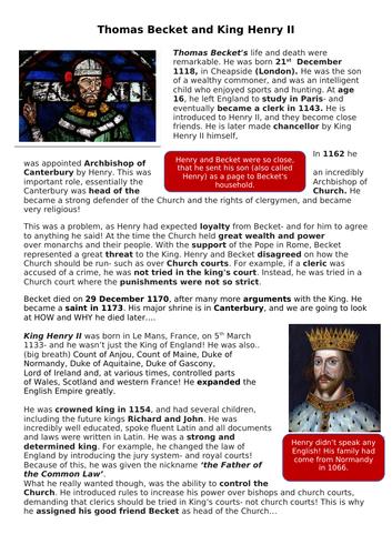 Thomas Becket for KS3