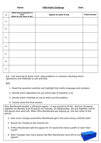 Maths  assessment -  differentiated inc answers