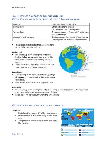 GCSE Geography OCR B - Global Hazard Notes: