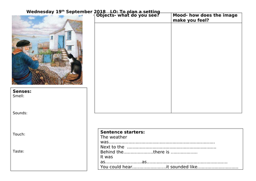 Year 2 Setting Description Plan - Editable for chosen picture