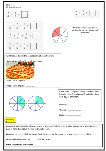 Year 3 Adding Fractions Worksheet