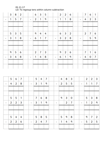 Year 3 Column Subtraction of 3 digit numbers (Regrouping)