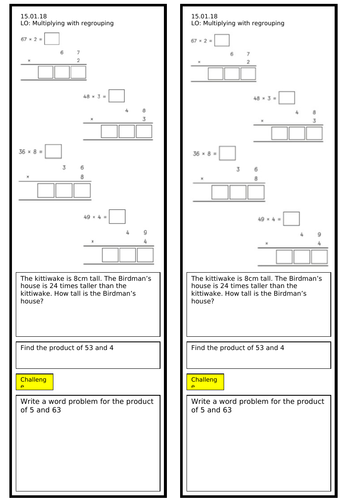 Year 3 Multiplying with Regrouping Worksheet