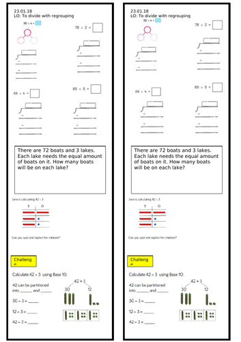 Year 3 Dividing by Regrouping Worksheet
