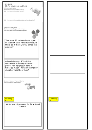 Year 3 Maths Multiplication Word Problems Worksheet
