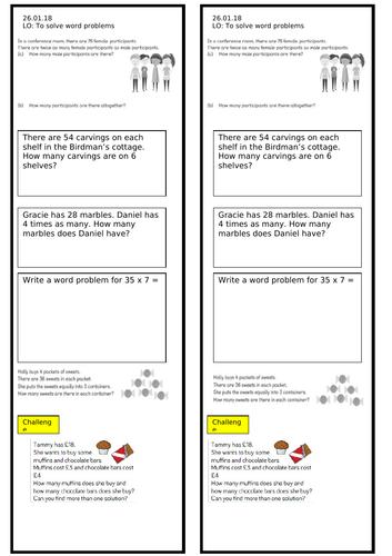 Year 3 Multiplication Word Problems Worksheet
