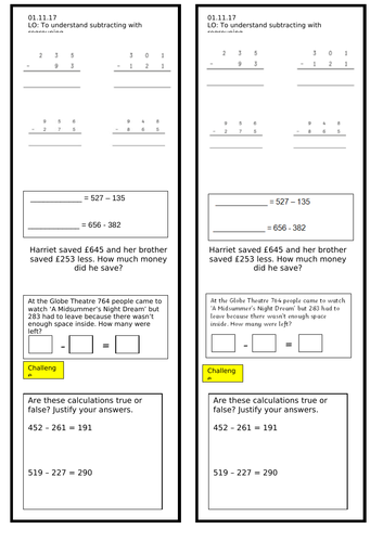 Year 3 Subtracting with Regrouping Worksheet - 3 digit numbers