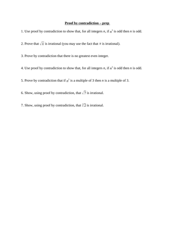 Proof by contradiction (new A level maths)