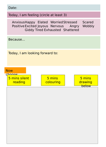 Feelings check-in sheet - Editable version