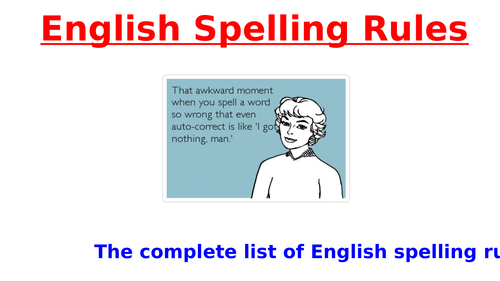The Complete List of Spelling Rules PowerPoint