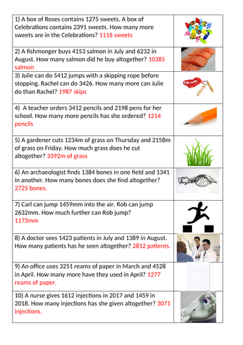 Differentiated Maths word problems.