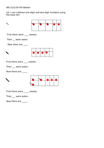 Maths subtraction sheet (White Rose style) Year 1