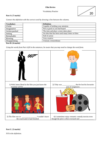 Film Review Vocabulary Practice