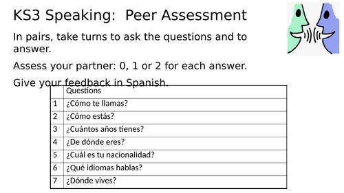 KS3 Spanish Speaking Peer Assessment
