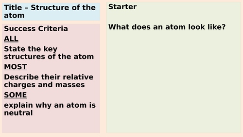 Atomic structure (two lessons)