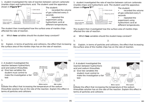 AQA GCSE rates of reaction and effect of surface area