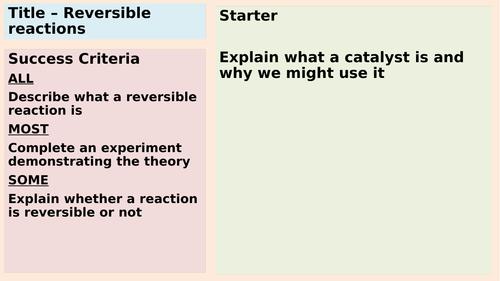AQA GCSE Reversible reactions
