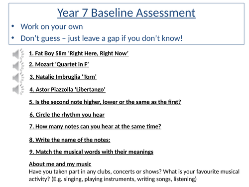 Year 7 Baseline Assessment with audio embedded