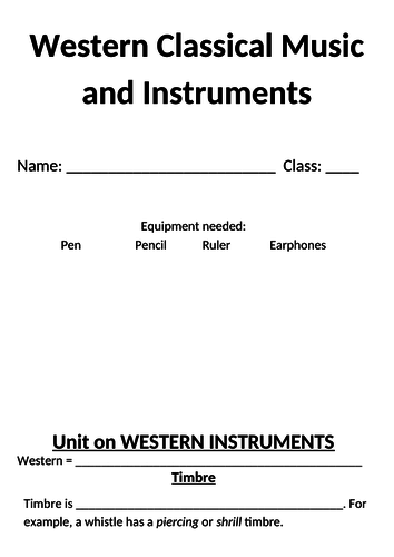 Complete Unit with all resources on Western Classical Music and Instruments
