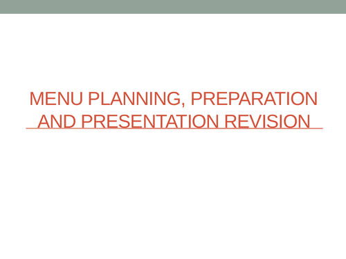 Menu Planning, preparation and Events